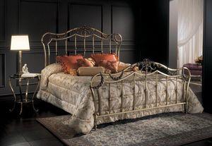 FIORELLA 1293 BRO, Lit double classique, en laiton bronze, pour chambre d'hôtel