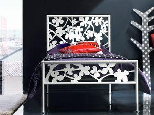 Flower Single Bed, Lit avec tête de lit en fer, pour la zone de couchage