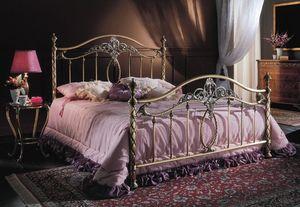 GIORGIA 1299 BRO/PE, Lit en laiton pour chambre à coucher, lit classique pour les hôtels