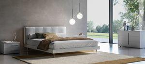 KELLY, Lit avec tête de lit en faux cuir, avec éclairage LED