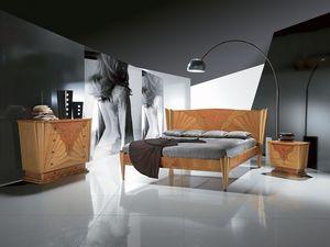 LE05 Fusion, Les lits en bois avec incrustation, disponible en couleur noyer