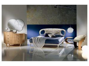 LE14 Iride lit, Lit en cuir, fait main, léger et style dynamique