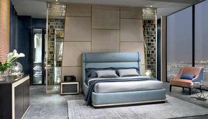 LE29 Galileo lit, Lit avec structure rembourrée et tête de lit