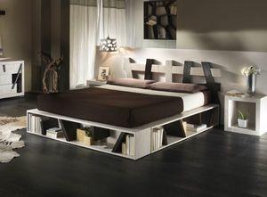 Lit cross black white, Lit ethnique avec cadre de lit avec conteneur