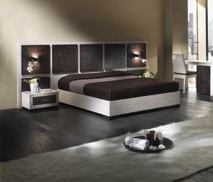 Lit Dubai, Lit avec tête de lit en bois, style ethnique