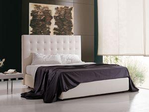 Polaris, Lit rembourré avec récipient et tête de lit haute, pour hôtel