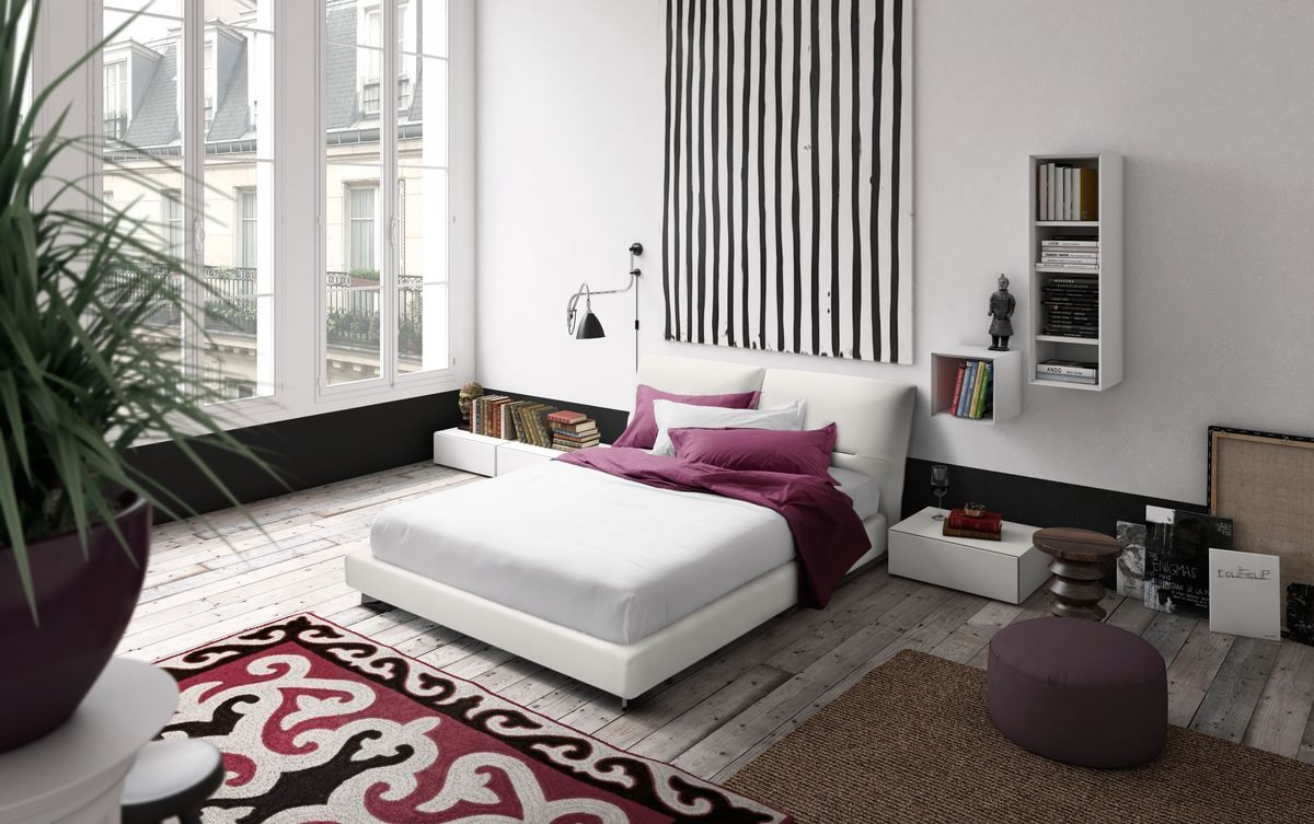Vintage, Lit design, cadre de lit en bois, couché tête de lit capitonnée