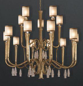 RIALTO HL1059CH-15, Lampdario en fer avec pendentifs en cristal