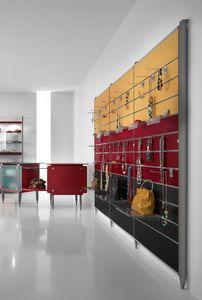 Contemporary - unité murale pour magasin d'accessoires, Présentoir mural avec crochets ou étagères