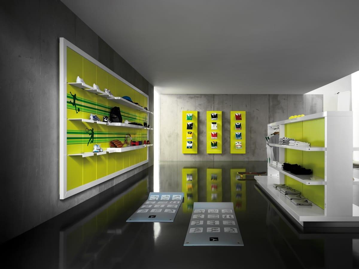 Revolution - Gondole d'exposition pour les magasins de vêtements de sport, Exposant autonome pour les magasins de sport