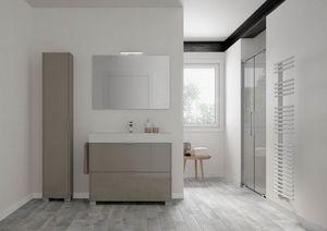 Basic comp.01, Armoire de toilette autonome avec lavabo cercamic