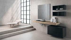 BLUES BL2.07, Meuble de salle de bain complet avec tiroir noir opaque