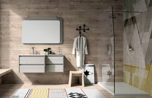 Dress 2.0 comp.05, Meuble de salle de bain en bois avec miroir