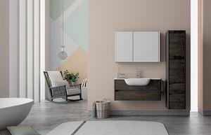 Dress 2.0 comp.10, Meuble pour salle de bain avec colonne en bois