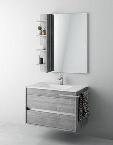 Duetto comp.01, Meuble de salle de bain avec miroir et compartiment de rangement