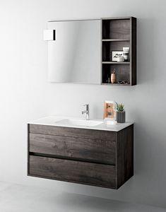 Duetto comp.03, Meuble encombrant pour salle de bain avec miroir et étagère