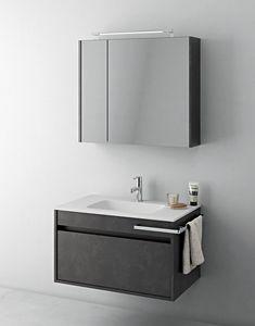 Duetto comp.07, Mobilier de salle de bain compact avec miroir de rangement