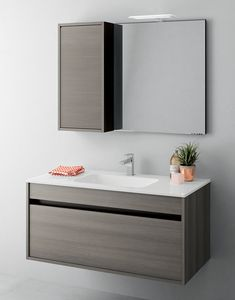 Duetto comp.10, Meuble pour salle de bain peu encombrant avec tiroirs sans poignée