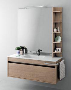 Duetto comp.11, Armoire peu encombrante pour salle de bain avec éclairage intégré