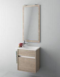 Duetto comp.16, Meuble de salle de bain avec petit évier et miroir