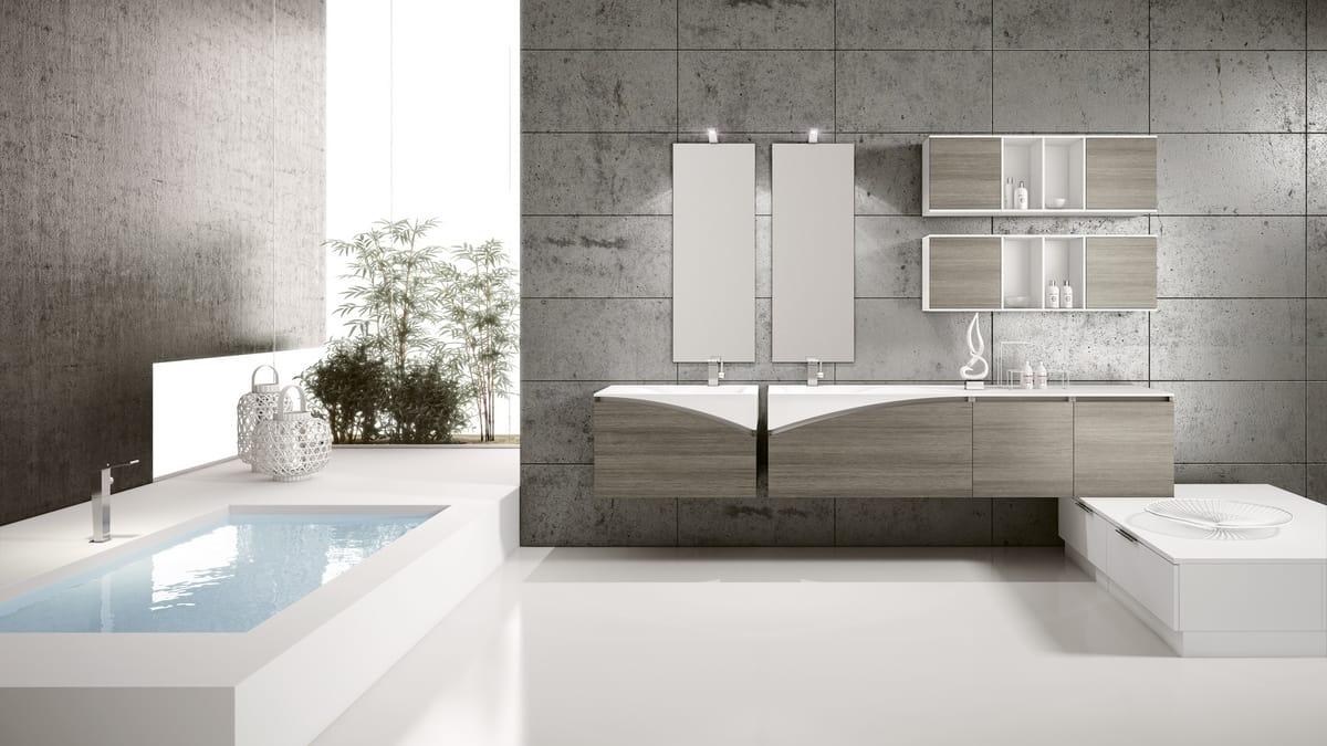 FLY 06, Meuble complet pour salle de bain avec éléments muraux ouverts