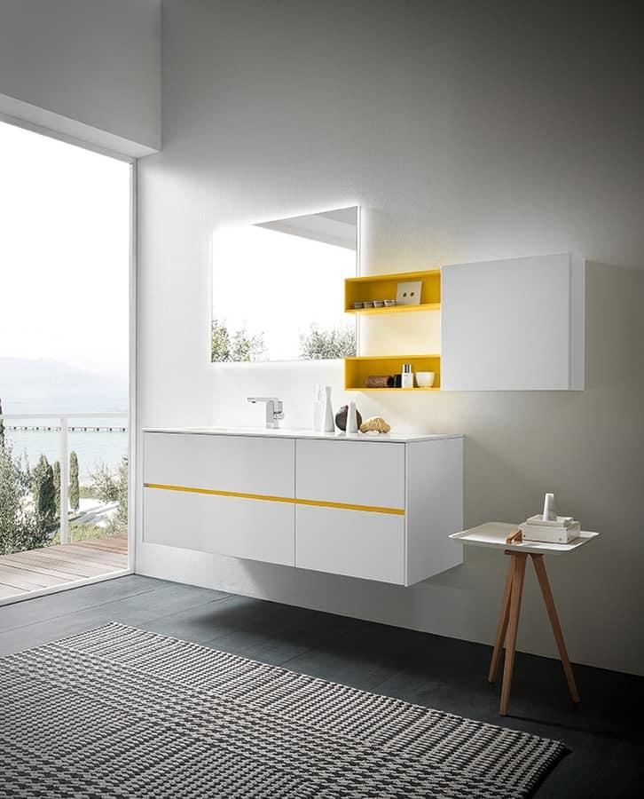 armoire lumineuse pour meubles de salle de bain en laqu blanc idfdesign. Black Bedroom Furniture Sets. Home Design Ideas