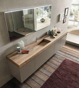 Lime 2.0 comp.16, Meuble de salle de bain élégant avec chêne HPL et lavabo