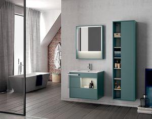 Lume comp.14, Meuble pour salle de bain mural avec miroir