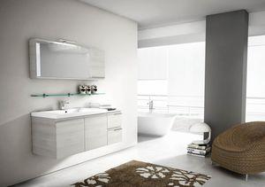 Mistral comp.08, Miroir avec porte rabattable, pour l'ameublement de la salle de bains