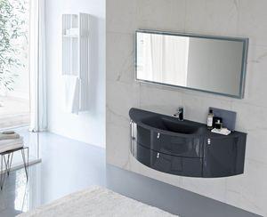 My Fly Evo comp.16, Armoire de toilette design incurvée avec dessus en verre sablé