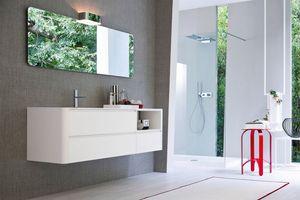My seventy plus comp.01, Armoire de toilette laquée blanche avec un design essentiel
