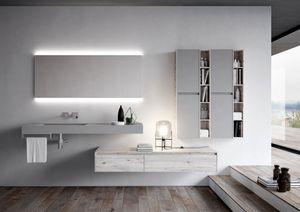Nyù comp.14, Armoire de salle de bains avec tiroirs spacieux