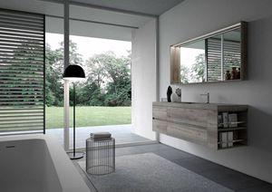 Nyù comp.15, Armoire de toilette minimale, avec miroir et lumière led