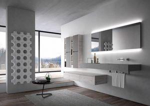 Nyù comp.16, Meubles de salle de bain avec grand miroir rétro-éclairé