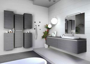Plane 2D 04, Meuble de salle de bain en finition chêne gris