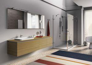 Plane 2D 05, Meubles de salle de bain en bois de chêne naturel