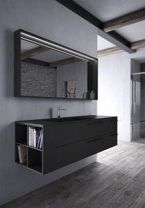 Sense comp.03, Meubles de salle de bain en noir Fenix
