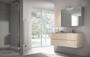 Smyle comp.01, Meubles de salle de bain, miroir avec grand compartiment de rangement