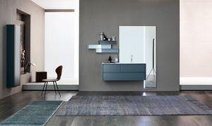 Tender comp.04, Meuble de salle de bain avec grand miroir et étagères