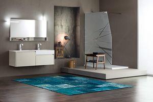 Tender comp.06, Meuble pour salle de bain avec double lavabo et compartiments de rangement