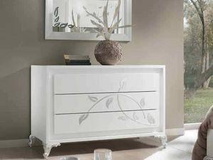 Camelia Commode, Commode, en bois laqué blanc, avec des décorations en argent