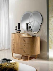CO13 Iride, Coffres en bois de trois tiroirs, une petite table avec 2 niveaux