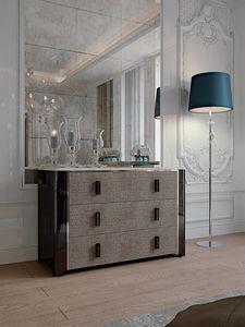 Hotel de Ville Vaisselier, Commode de luxe avec tiroirs rembourrés en cuir