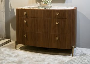 LAPETO commode GEA Collection, Commode en noyer canaletto de forme arrondie