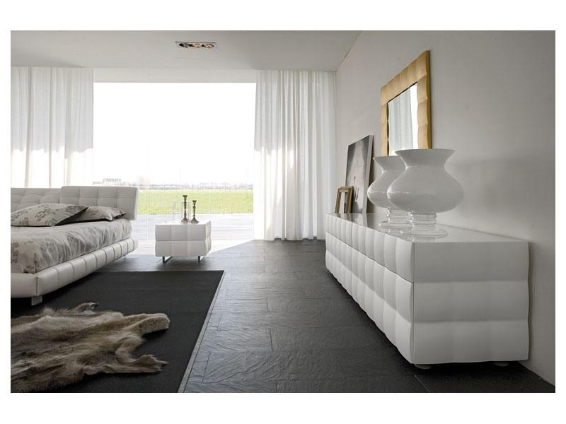 VENICE NOTTE bedside table, Commodes en bois, avec plateau en verre, pour chambre