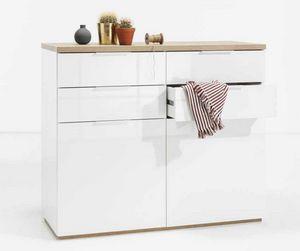 Commode blanche 4 tiroirs 2 portes pour salon de cuisine, Commode de couleur blanche