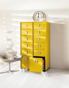 TOOLBOX comp.07, Poitrine jaune des tiroirs pour la maison et le bureau