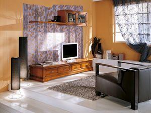 Art.107/L, Cabinet avec des tiroirs et des cintres pour les salons