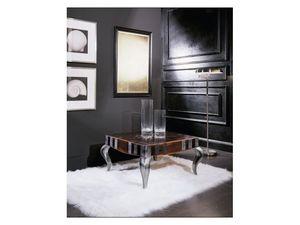 MIMì quadro small table 8319T, Table basse carrée en bois, haut décoré, pour le salon