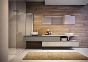 Cubik comp.15A, Mobilier de salle de bain spacieux, avec deux lavabos et des miroirs